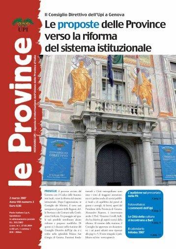 Il Notiziario Upi n.3 del 2007 - UPI - Unione delle Province d'Italia