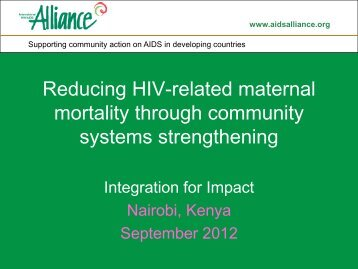 No 54 – Reducing HIV related maternal mortality through community ...