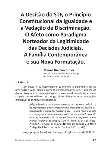 A Decisão do STF, o Princípio Constitucional da Igualdade ... - Emerj