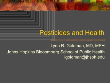 Public Health Effects of Pesticide Exposure