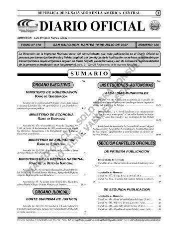 Diario 10 de Julio.indd - Diario Oficial de la República de El Salvador
