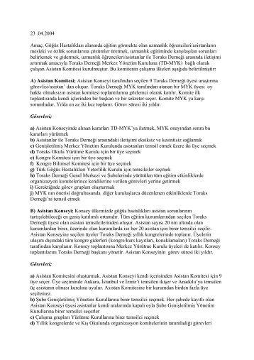 Asistan Komitesi Yönetmeliği - Türk Toraks Derneği