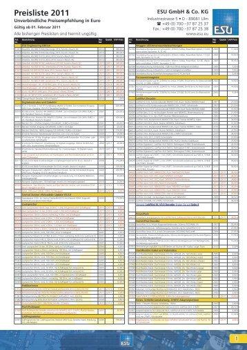 Preisliste 2011 - ESU