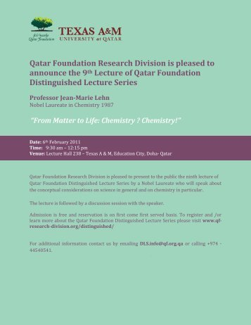 The 9th Lecture Distinguished Lecture Series of Qatar Foundation ...