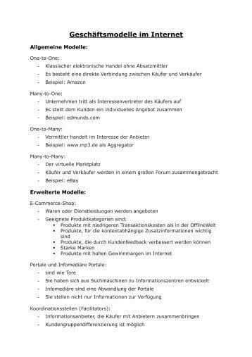 Geschäftsmodelle im Internet - OSZ Handel I