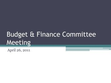 Budget & Finance Committee Meeting