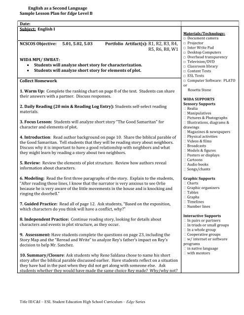 Unit 1 Sample Lessons Level B pdf - Teachers of English
