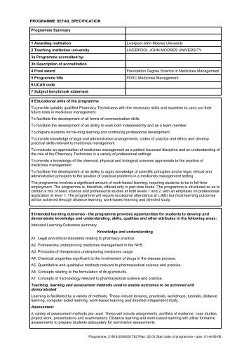 Medicines Management - Liverpool John Moores University