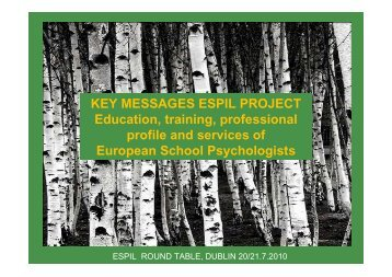 Key Messages ESPIL project, M. Kant-Schaps - Nepes