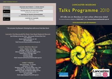 Talks Programme 2010 - Lancashire County Council