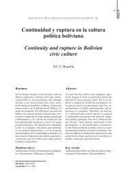 Continuidad y ruptura en la cultura política boliviana ... - SciELO