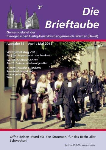 Ausgabe 85 April - Mai 2013 - Heilig-Geist-Kirchengemeinde Werder