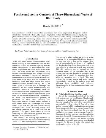 Passive and active control of the wake behind axisymmetric bluff ...