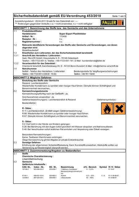 Sicherheitsdatenblatt Klebstoff FALLER Expert #170490