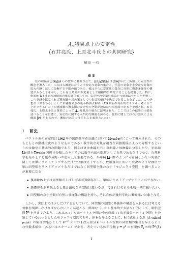 特異点上の安定性 石井亮氏、上原北斗氏との共同研究¤