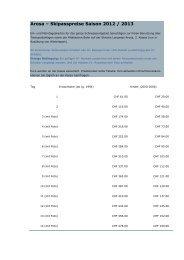 Arosa – Skipasspreise Saison 2012 / 2013