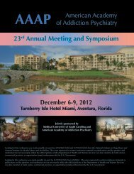 23rd Annual Meeting Program - American Academy of Addiction ...