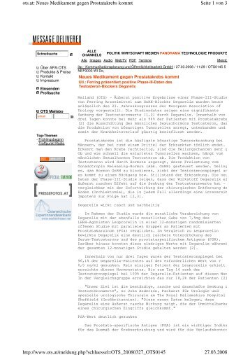 APA-OTS: Neues Medikament gegen Prostatakrebs kommt - Ferring