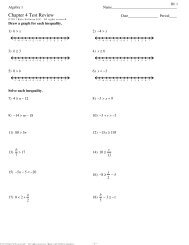 Algebra 1 â Chapter 3 Review Answers