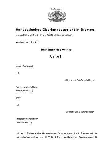 1 U 6/11 - Hanseatisches Oberlandesgericht Bremen