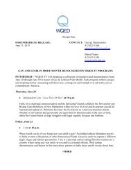 FOR IMMEDIATE RELEASE: June 11, 2013 CONTACT ... - WQED