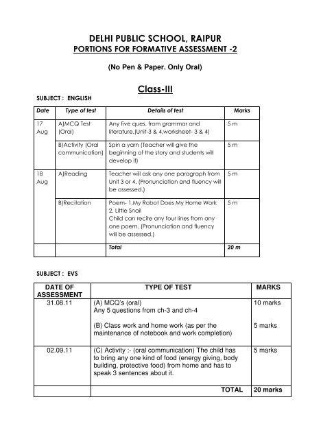 dps raipur holiday homework 2013