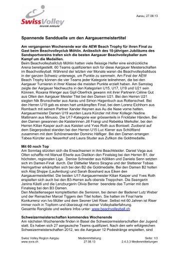Bericht der AEW Beach Trophy 2013 Möhlin - Regionaler ...