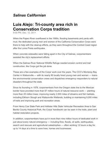 Luis Alejo - California Conservation Corps