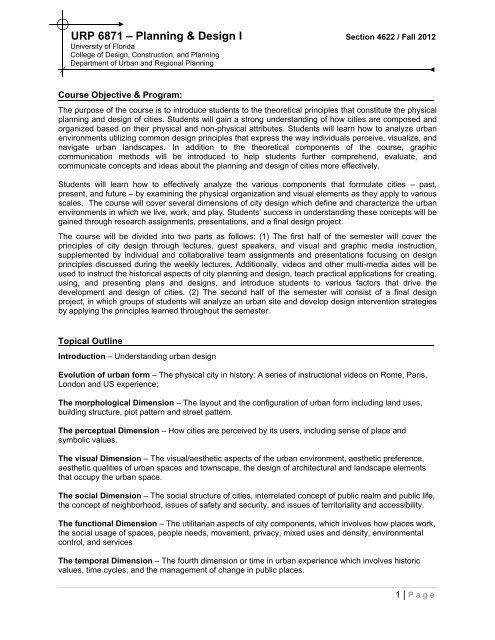 Urp 6871 A Planning Design I College Of Design Construction
