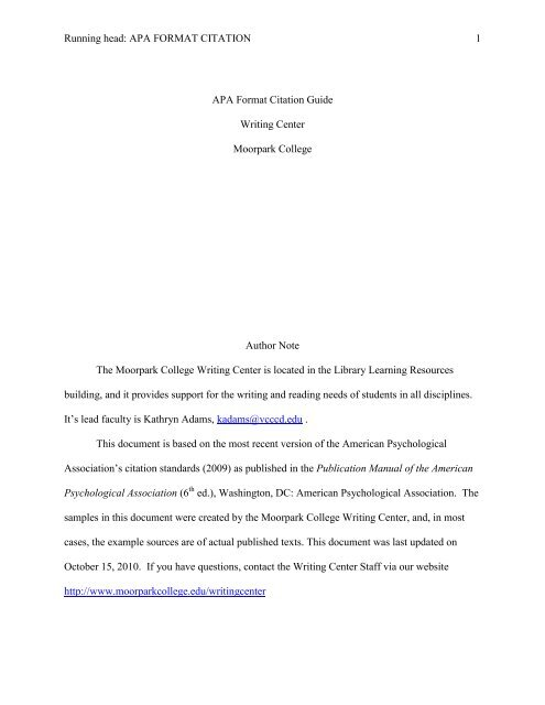 paper in apa format sample 2010
