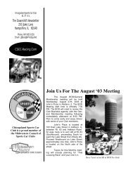 Join Us For The August '03 Meeting - Chicagoland Sports Car Club