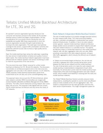 Tellabs Unified Mobile Backhaul Architecture for LTE, 3G and 2G