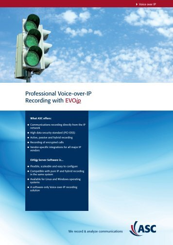 Professional Voice-over-IP Recording with EVOip - ASC telecom