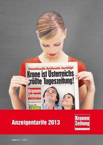 Anzeigentarife 2013 - Kroneanzeigen.at