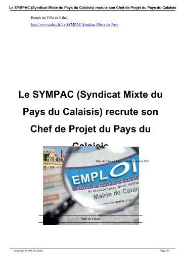 Le SYMPAC (Syndicat Mixte du Pays du Calaisis ... - Ville de Calais