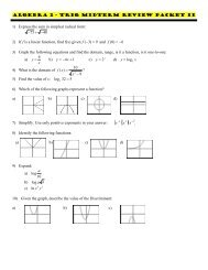 Algebra 2 - Trig Midterm Review Packet II 1) Express the sum in ...