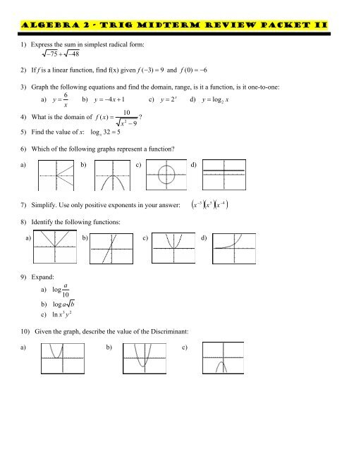 Algebra 1 Review Packet