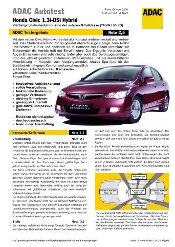 Umfassender Test Honda Civic 1.3i-DSi Hybrid - ADAC