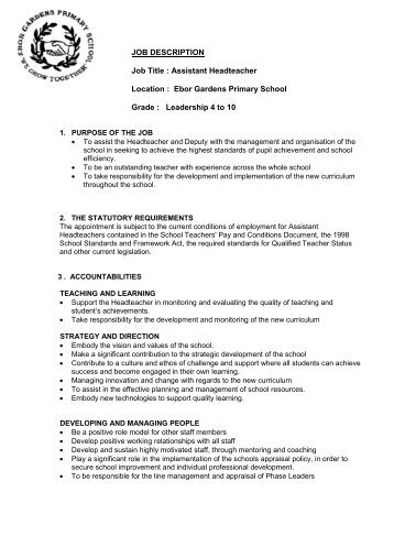 Job Description Personal Specification - Eteach