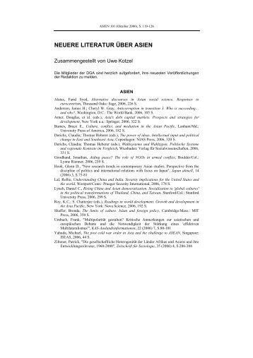 neuere literatur über asien - Deutsche Gesellschaft für Asienkunde