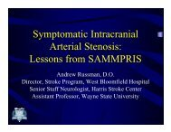 Lessons from SAMMPRIS - Henry Ford Health System