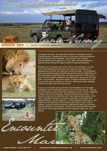 Download Mara Naboisho Conservancy game ... - Encounter Mara