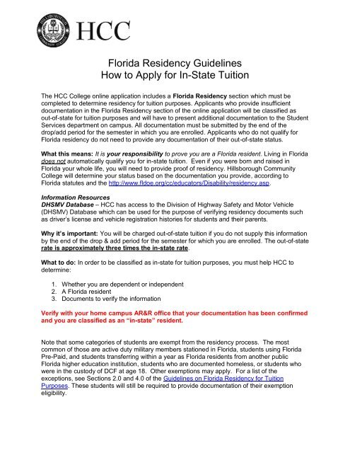 Florida Residency Guidelines How to Apply for In-State Tuition