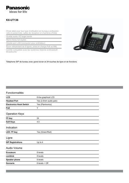 KX-UT136 Fonctionnailtés Operation Keys Indication Ligne Audio ...
