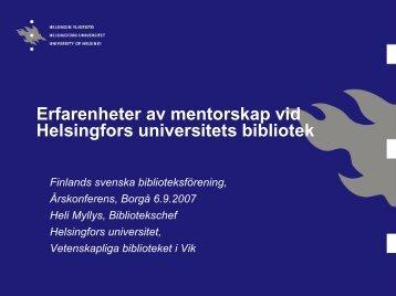 Erfarenheter av mentorskap på Helsingfors universitets ... - Kirjastot.fi