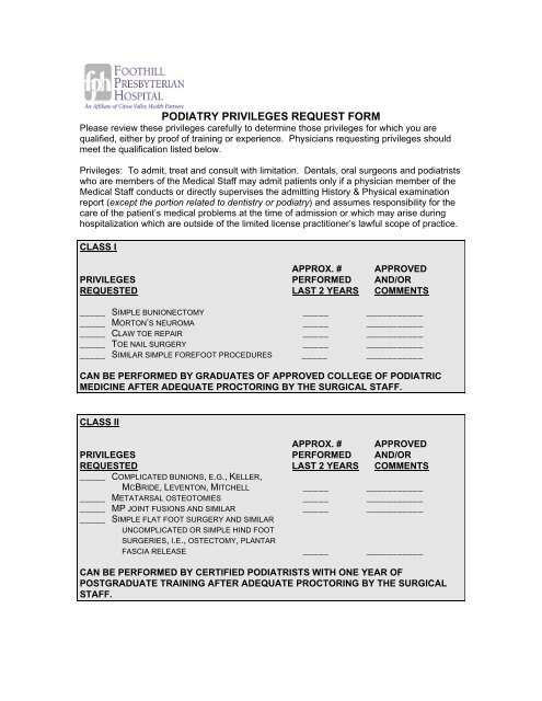 PODIATRY PRIVILEGES REQUEST FORM