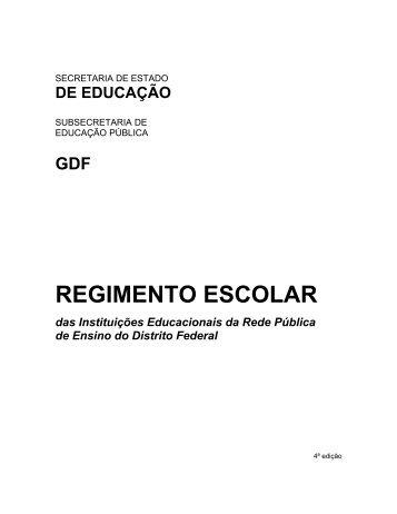 Regimento Escolar das Instituições Educacionais da - SINPRO-DF