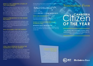 nomination form - Chief Minister and Treasury Directorate - ACT ...