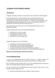 Aufgaben EntityRelationModell