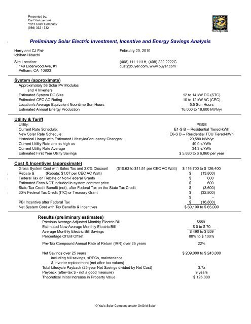 Residential Preliminary Proposal Example Ongrid Solar